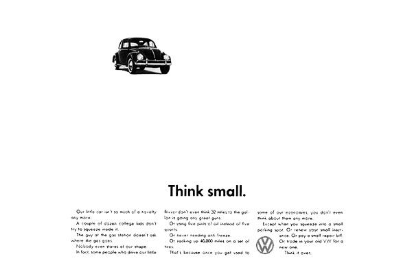 Volkswagen. Think Small (Doyle Dane Bernbach, 1959).