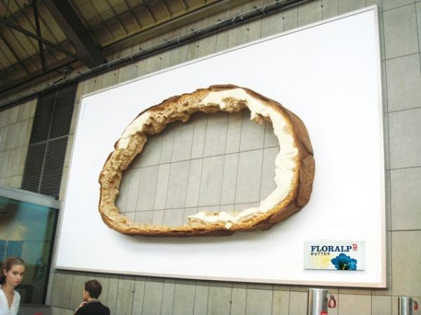 хлеб, креативная наружная реклама, билборд